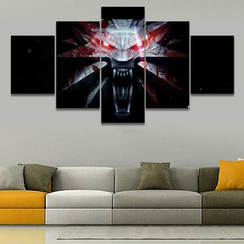 Canvas Pictures Wall Art HD Prints Home Decor 5 Pieces Game The Witcher 3 Wild Hunt Mark Paintings Living Room Poster Framework