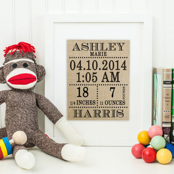 Personalized Burlap Art Print | Christening Gift | Gift for Mom | Baptism Gift | Birth Announcement | Nursery Art Print | Nursery Gift