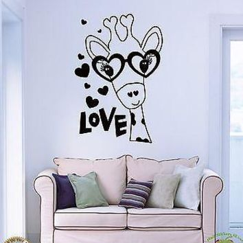 Wall Sticker Giraffe in Glasses With Hearts Cute Decor for Bedroom Unique Gift z1435