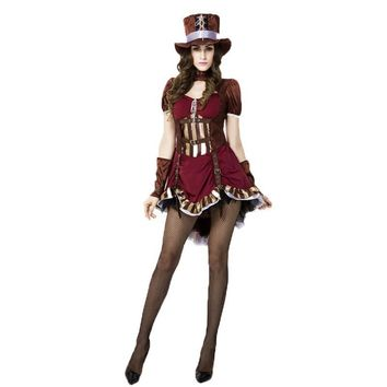 Alice In Wonderland Deluxe Mad Hatter Costume for Women Adult Girls Cosplay Halloween Magician Pirate Captain Costumes Outfits