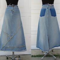 London Jean Denim Skirt Frayed Waist and Hem Criss Cross Seams at Front A-line Maxi Skirt Sz 10