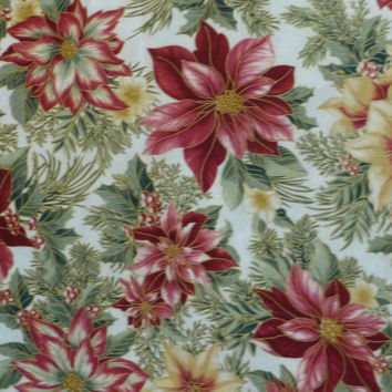 Cotton Fabric, Quilt , Home Decor, Craft Fabric, Christmas, Holiday Flourish 7 From Robert Kaufman, Exquisite Pointsettias, Fast Shipping