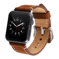 Apple Watch Band iWatch Strap Premium Crazy Horse Genuine Leather Watchband with Classic Metal Adapter Clasp Replacement Band