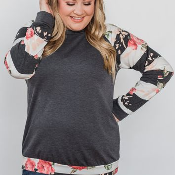 Can't Help Myself Long Sleeve Top- Charcoal