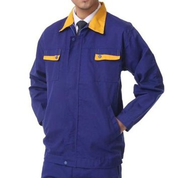 Working Protective Gear Uniform Suit Canvas Garage yellow collar top clothes 170