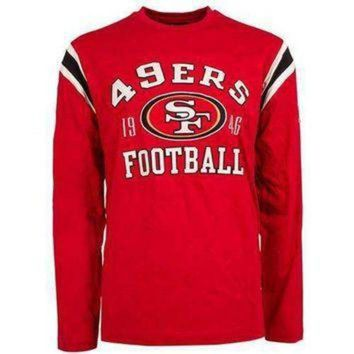 PEAPYD9 San Francisco 49ers NFL Lateral Felt Applique Long Sleeve Jersey T-Shirt - Large