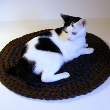 Double Thick Crochet Area Rug or Pet Bed Round, Handmade Rag Rug in Brown and Blue