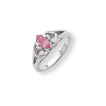 0.02 Ct  14k White Gold 7x3.5mm Marquise Pink Sapphire Diamond Ring I1 Clarity and G/I Color