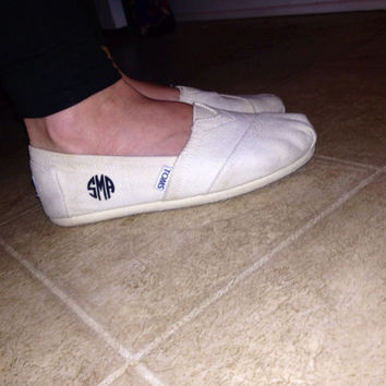 Hand painted Toms Classic Canvas Circle Monogrammed