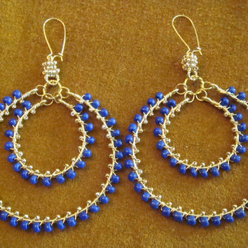 Gypsy Boho Cobalt Blue  and Gold Plated Chandelier Earring