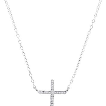 10kt White Gold Womens Round Diamond Cross Faith Pendant Necklace 1/12 Cttw