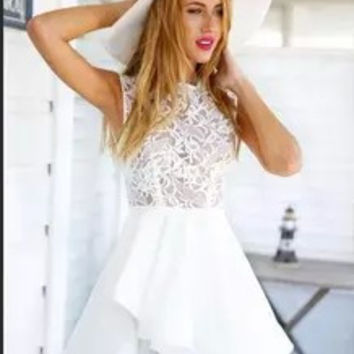Hot Sale Lace Sleeveless Mosaic One Piece Dress = 4806595204