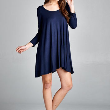 Winter Rendezvous Lace Back Dress in Navy
