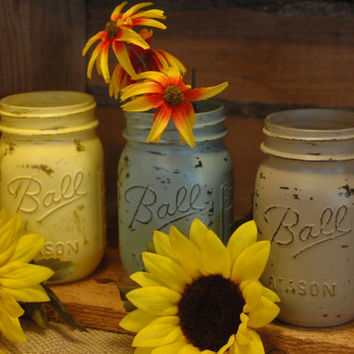 Wildflowers collection of painted mason jars