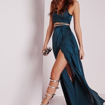 Missguided - Satin Wrap Maxi Skirt Teal
