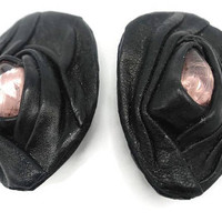 Black Leather Lucite Cabochon Clip Earrings