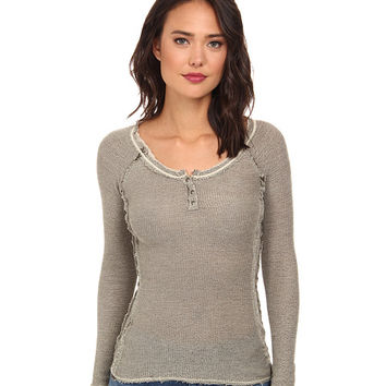 Free People Rag Tag Henley Sweater Army/Light Green Combo - 6pm.com