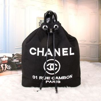 """Chanel"" Women Casual Fashion Canvas Letter Embroidery Drawstring Bucket Backpack Large Capacity Double Shoulder Bag"