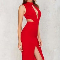 Side by Side Cutout Midi Dress - Red