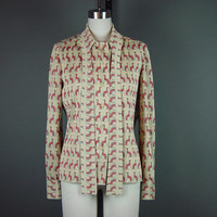 70s Novelty Print Blouse Shirt Vintage 1970s Egyptian Dog Red Green Long Sleeve Ascot L XL
