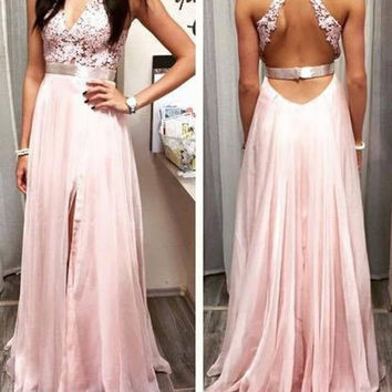 Pink V-Neck Backless Prom Dresses