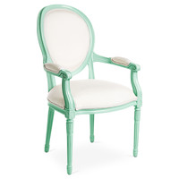 Melrose Outdoor Armchair, Mint/White, Outdoor Dining Chairs