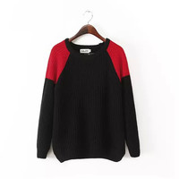 Contrast Color Long Sleeve Pullover Knitted Sweater
