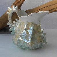 Lusterware Creamer - Conch Seashell Ceramic Creamer- Made in Germany - Milk Jar - Marine Blue Green Colors
