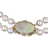 Double Strand Vintage Cultured Pearl Necklace 14 Karat Gold Opal Diamond Estate Fine Jewel