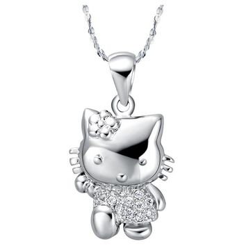X398 New Arrival Crystal Hello Kitty Necklace & Pendant Fashion Statement Necklace For Women Girls Birthday Gifts