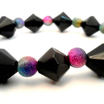 Black Diamond and Multicoloured Glitter Round Beaded Stretchy Elastic Bracelet