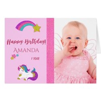Cute unicorn magical day 1st birthday with photo card