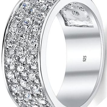 Sterling Silver Wedding Band Engagement Ring With Cubic Zirconia CZ 9MM 3 Row