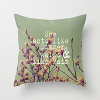 She Acts Like Summer Throw Pillow by Rachel Burbee