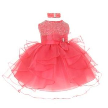 Walmart: Baby Girls Coral Organza Rhine studs Bow Sash Flower Girl Dress 6M