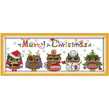 Christmas Owls patterns Counted Cross Stitch Cartoon Cross Stitch 11CT 14CT Cross-Stitch Kit Handmade Embroidery for Needlework