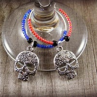 Set of 2 Sugar Skull Wine Glass Charms Wine Charms Wine Drink Marker Table Setting Hostess Gift Housewarming Gift Wine Accessories Favors
