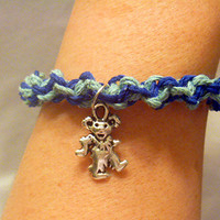 Grateful Dead Dancing Bear Blues Hemp Bracelet Anklet jewelry hippie handmade