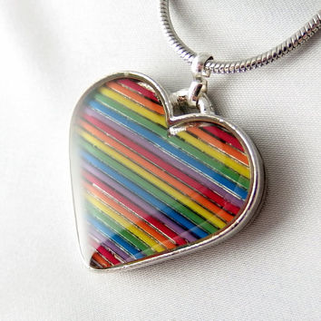 Rainbow Heart Necklace — Unique Jewelry Crafted from Recycled Domed Computer Cable