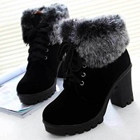 Women Winter Ankle Boots 2017 Fashion Lace Up High Heel Classic Ladies Keep Warm Shoes Boots