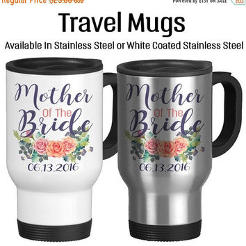 Travel Mug, Mother Of The Bride Mug For Wedding Wedding Gift Married Gifts Beautiful Watercolor Art, Gift Idea, Stainless Steel 14 oz