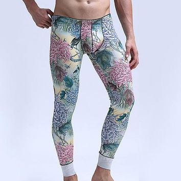 High qulity Winter Warm Male Thermo Underwear Long Johns Underpants Mens Long Johns Cotton Printed Thermal Underwear