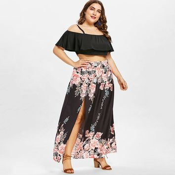Crop Top and Maxi Plus Size Skirt Set