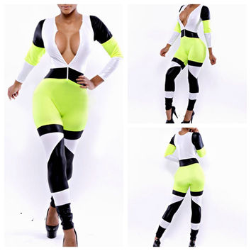 Green Color Block Plunged Neck Long Sleeve Jumpsuit