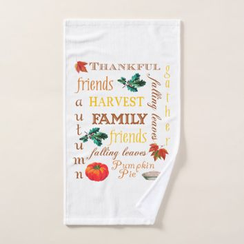 Thanksgiving Harvest Text Hand Towel