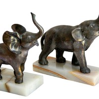 One Kings Lane - Elephants in the Room - Elephant Figurines on Onyx, Pair