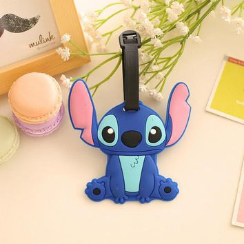 Kawaii Lilo Stitch 11.5CM Approx. Kid Girl's Silicone Rubber Travel Luggage Tag Holder ; Luggage Label Name TAG