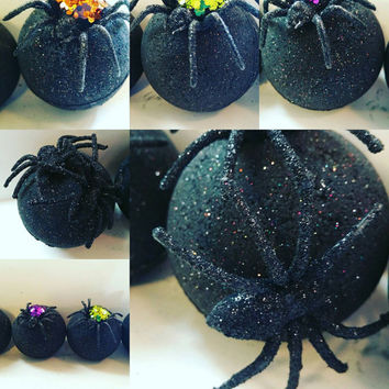 Spider Black Bath Bombs. Goth.  Dead Sea Salts. La Bonita Petra. Activated Charcoal. Detoxify. Moisturizing. Spooky. Party Favors.