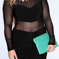 Long Sleeve Mesh Panel Dress