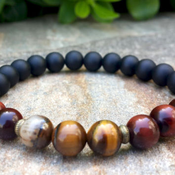 Tribal Mens Mala Wrist Bracelet, Tiger's Eye & Black Onyx, Beaded, Spiritual Strength Prosperity Yoga Jewelry Mens, Womens, Free Shipping
